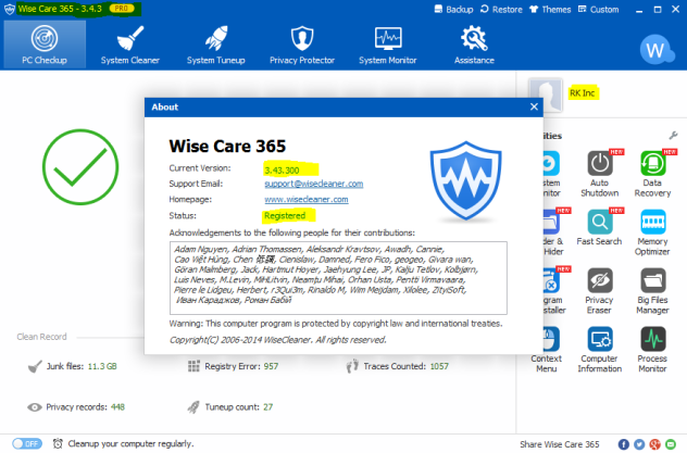 Wise Care 365 Pro crack + Serial Key Full Version Download