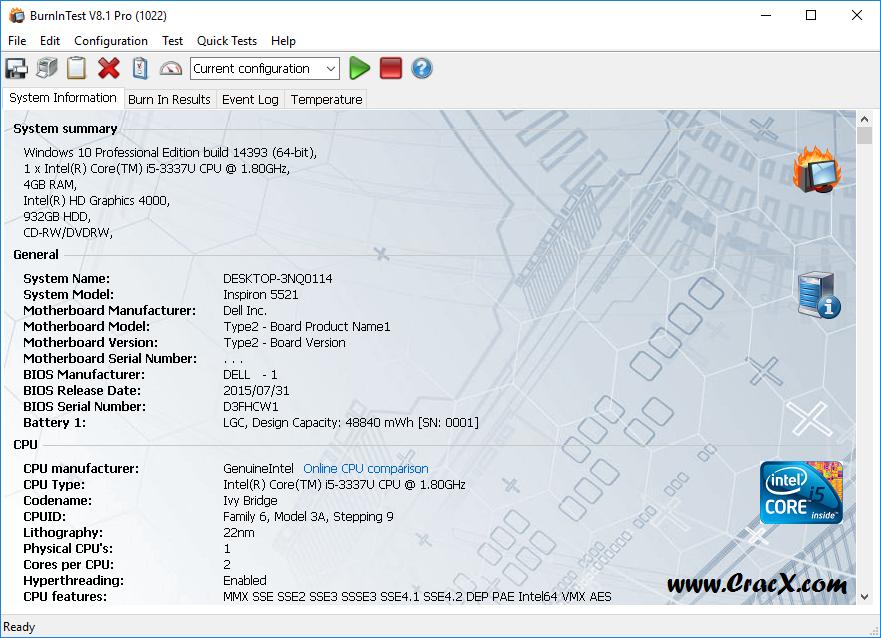 PassMark BurnInTest Pro 8.1 Build 1022 Serial Key Download