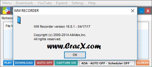 WM Recorder 16.8.1 Serial Keygen & Crack Download