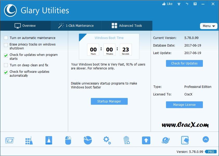 Glary Utilities Pro 5.78 License key & Crack Download