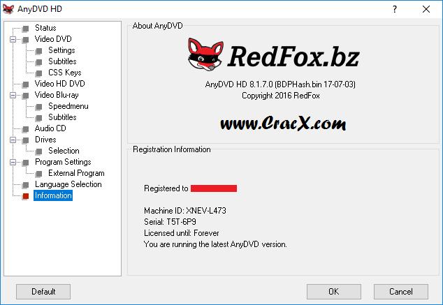 RedFox AnyDVD HD 8.1.7.0 Keygen + Activator Download