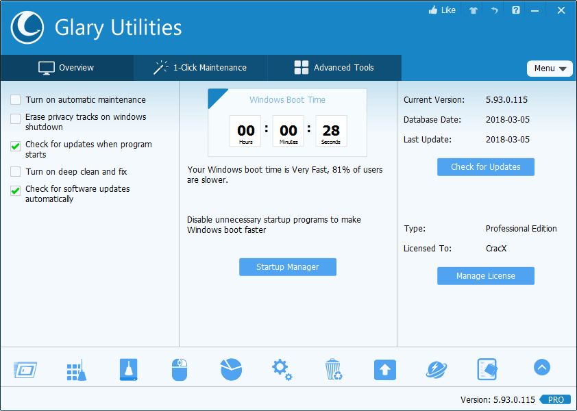 Glary Utilities PRO 5.93.0.115 License Key + Patch Download