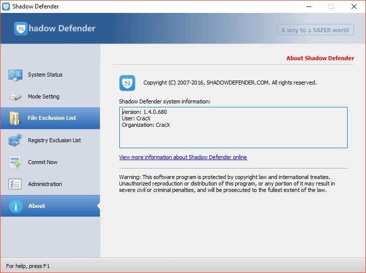 Shadow Defender 1.4.0.680 Keygen & Activator Download